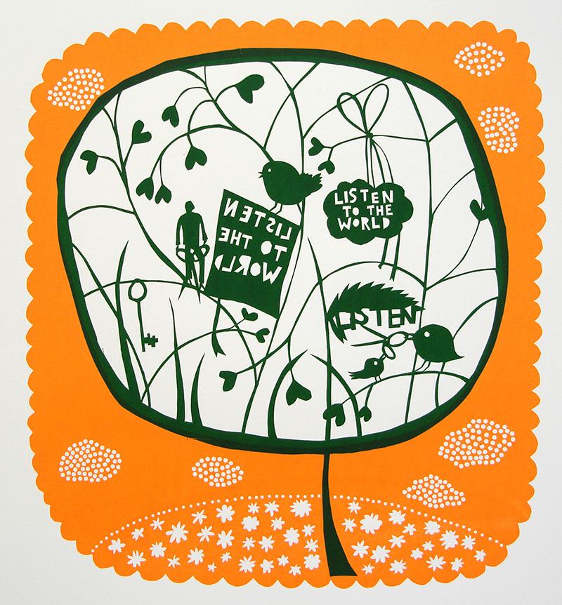 Listen-to-the-World-leaf.-Green-on-Orange